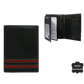 Portfel Męski Skórzany N4-SGT Black+Red