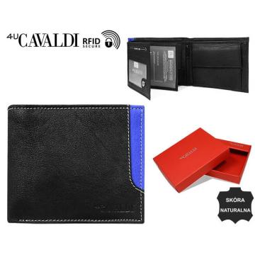 Portfel Męski Skórzany N992-GDL-RFID Black+Blue
